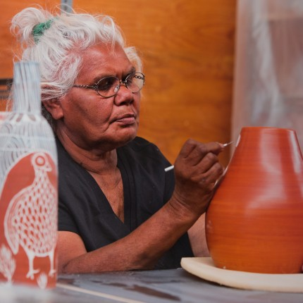 Carlene Thompson at the Ernabella ceramics studio, South Australia